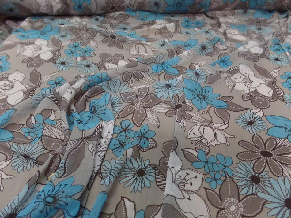 tissu mousseline crépon imprimé ton gris ,taupe ,blanc ,bleu