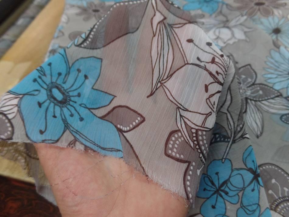 achat mousseline crépon imprimé ton gris ,taupe ,blanc ,bleu
