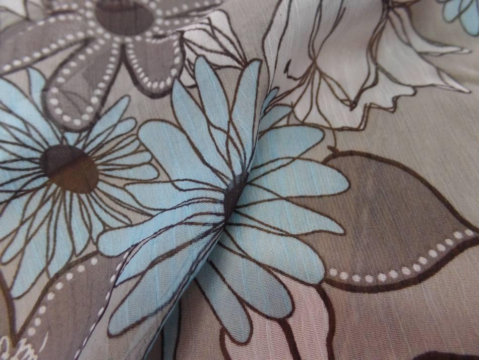 mousseline crépon imprimé ton gris ,taupe ,blanc ,bleu en ligne