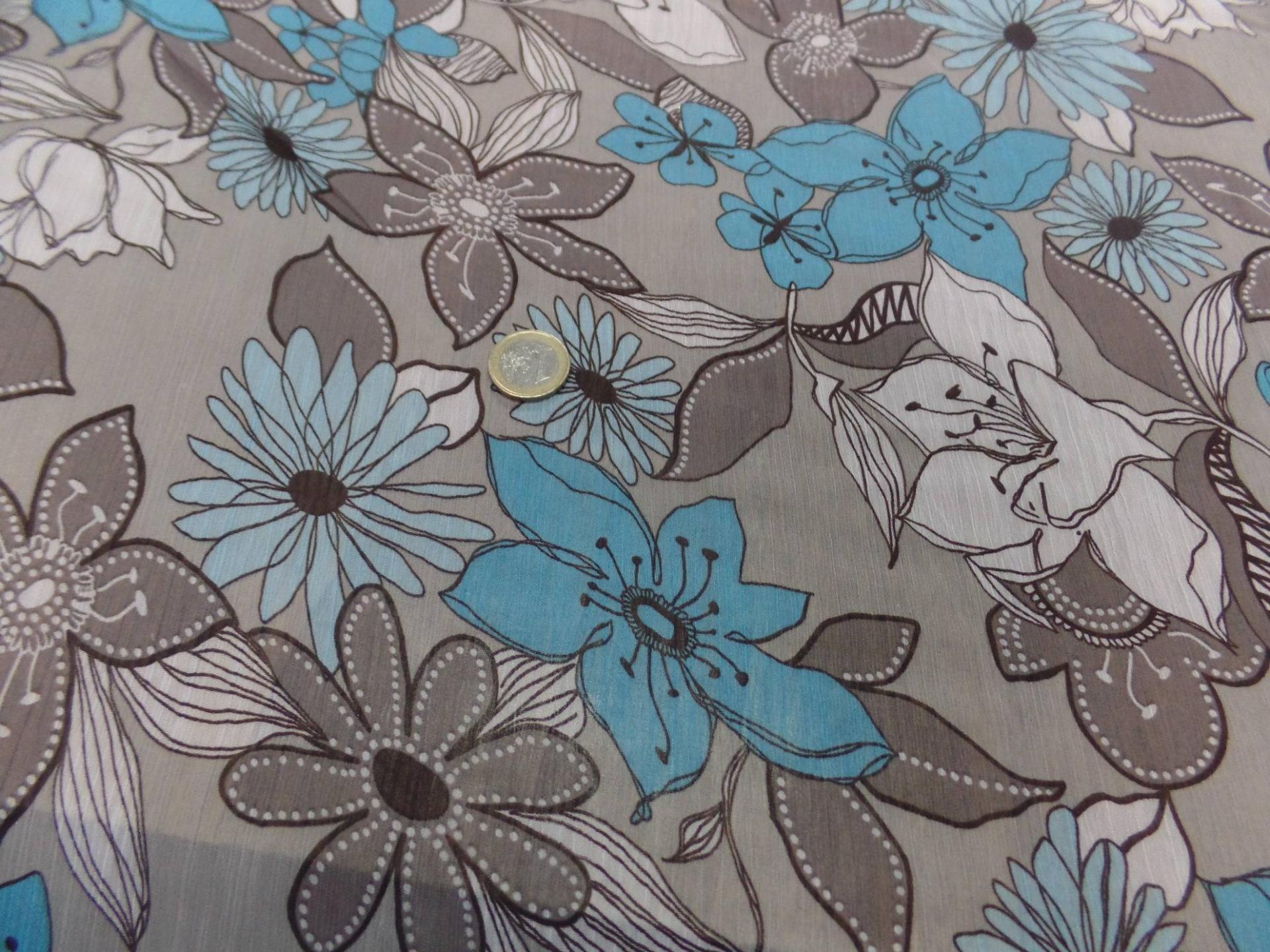 mousseline crépon imprimé ton gris ,taupe ,blanc ,bleu pas cher