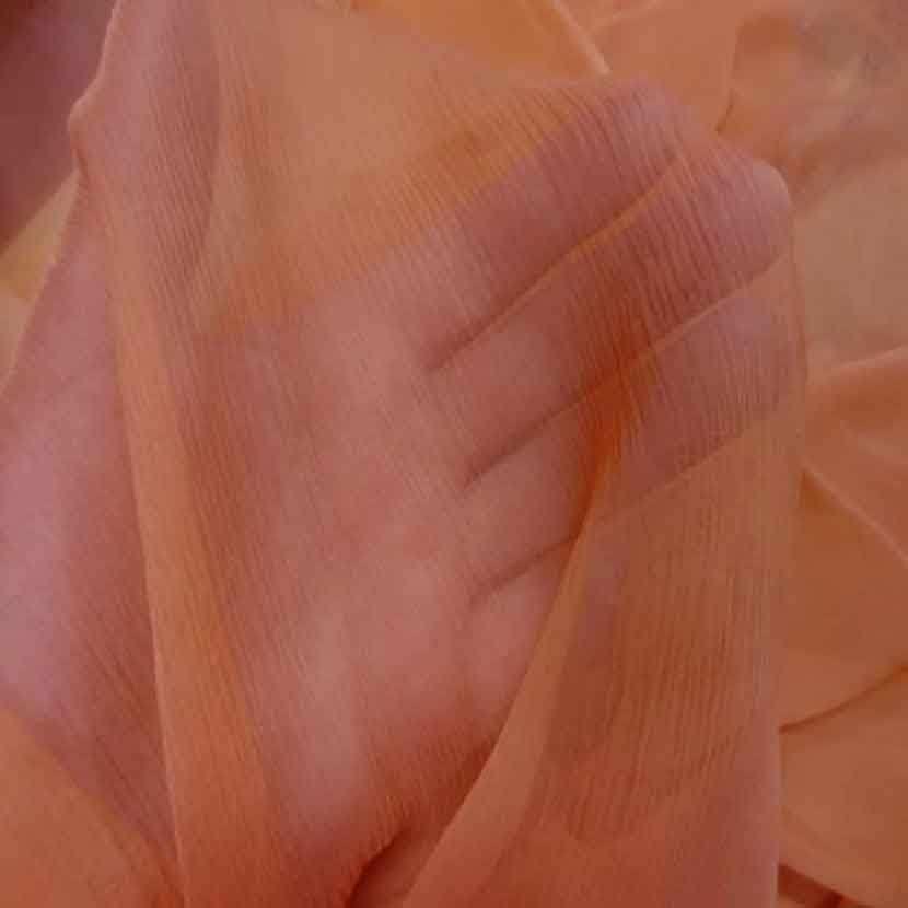 Mousseline crepon ne en soie 100 saumon2
