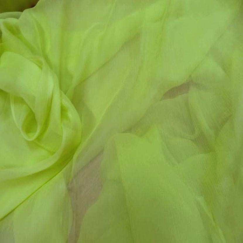 Mousseline crepon ne en soie 100 vert anis 1 45m2