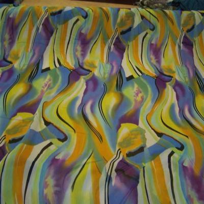 Mousseline crepon ne imprime en polyester ton jaune