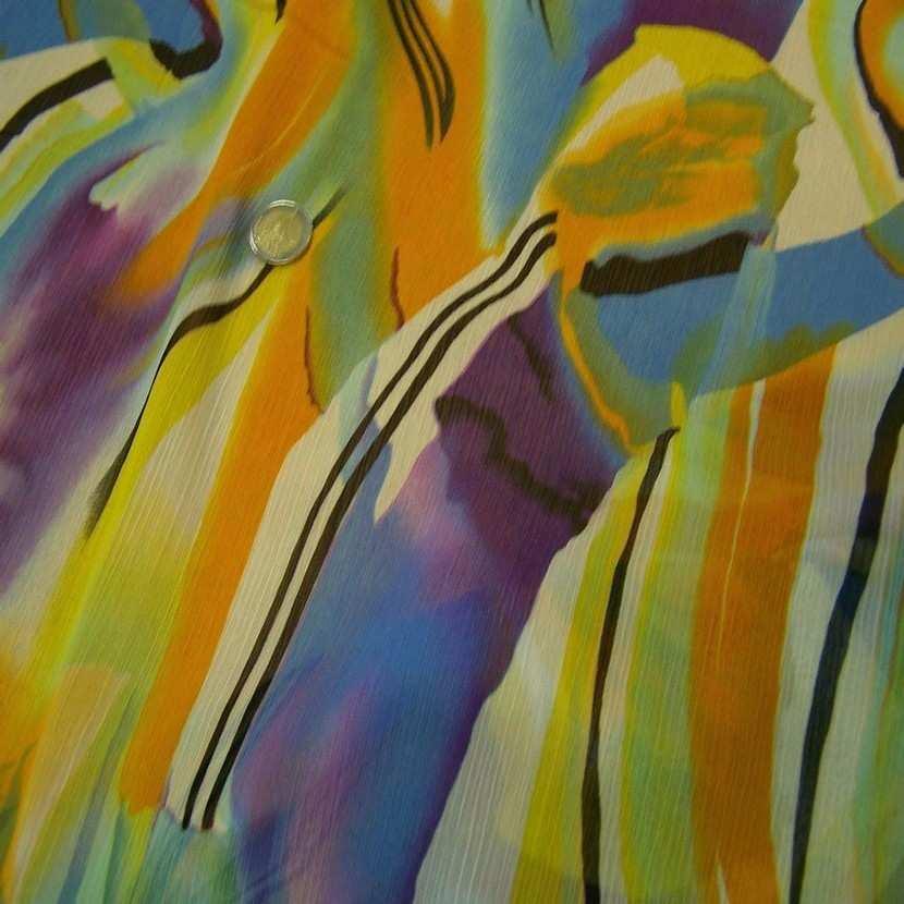 Mousseline crepon ne imprime en polyester ton jaune2
