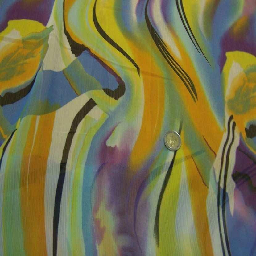 Mousseline crepon ne imprime en polyester ton jaune8