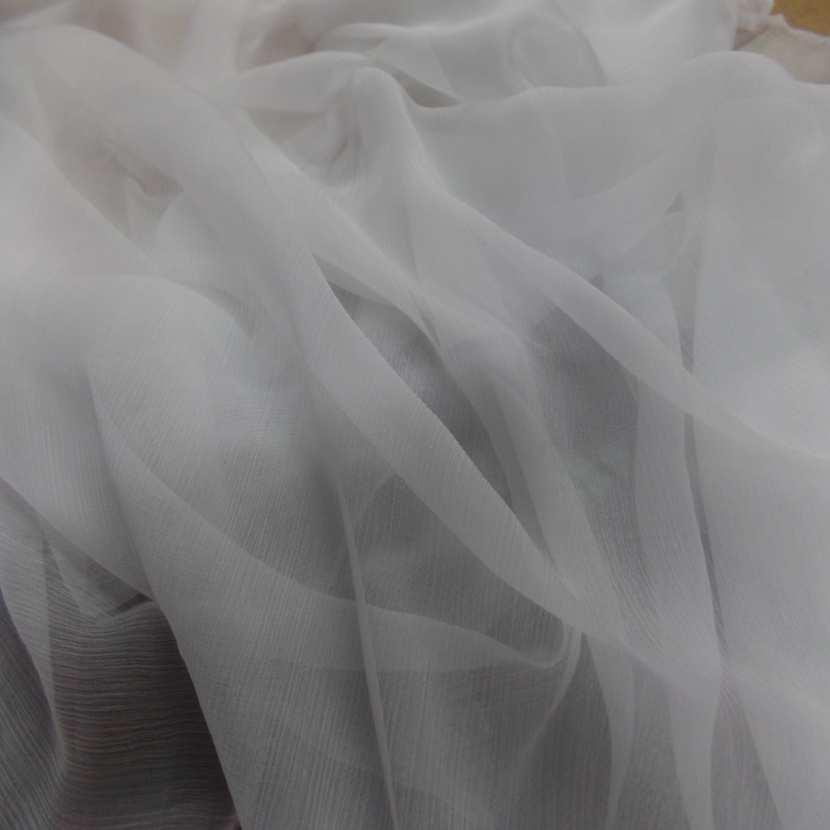 tissu mousseline de soie 100%, crépon né blanche