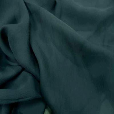 Mousseline de soie 100 crepon ne bleu canard5