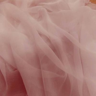 Mousseline de soie 100 crepon rose clair