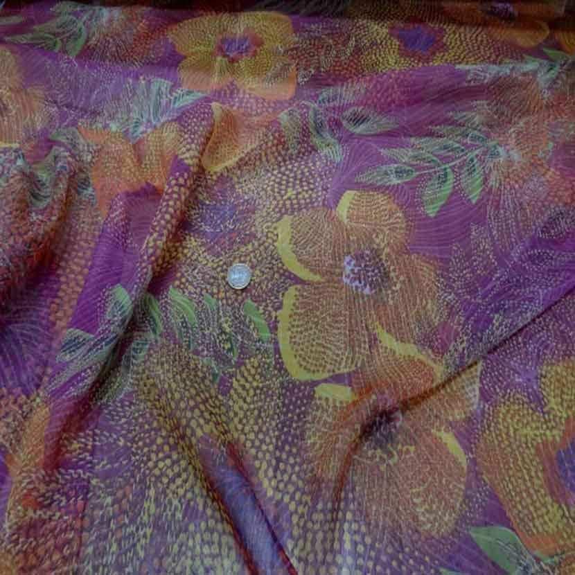 Mousseline de soie 100 imprime ton rose orange2