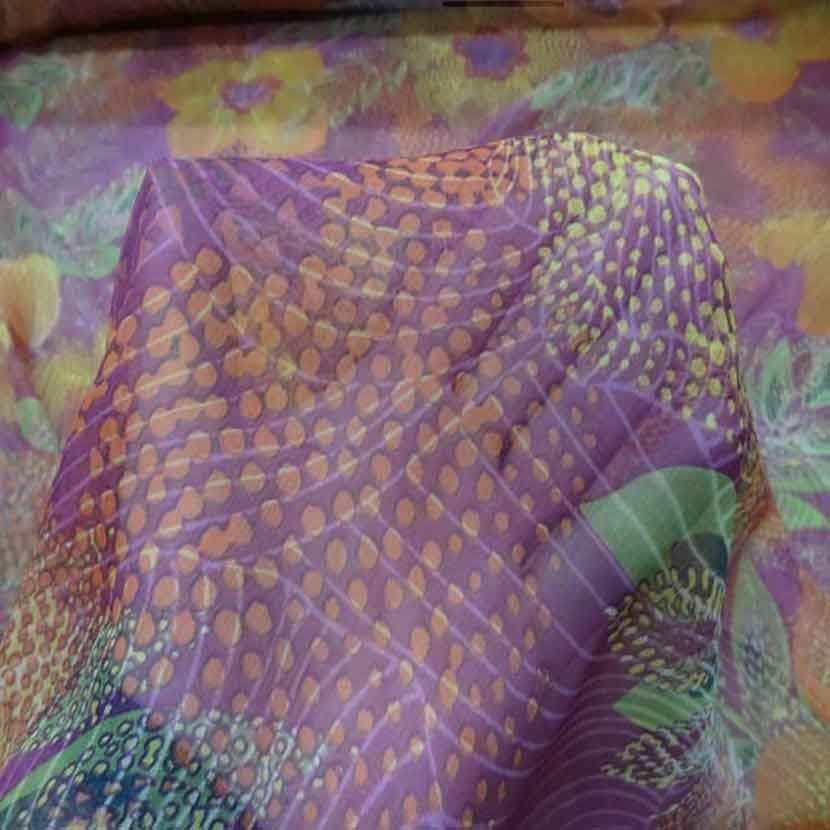 Mousseline de soie 100 imprime ton rose orange5