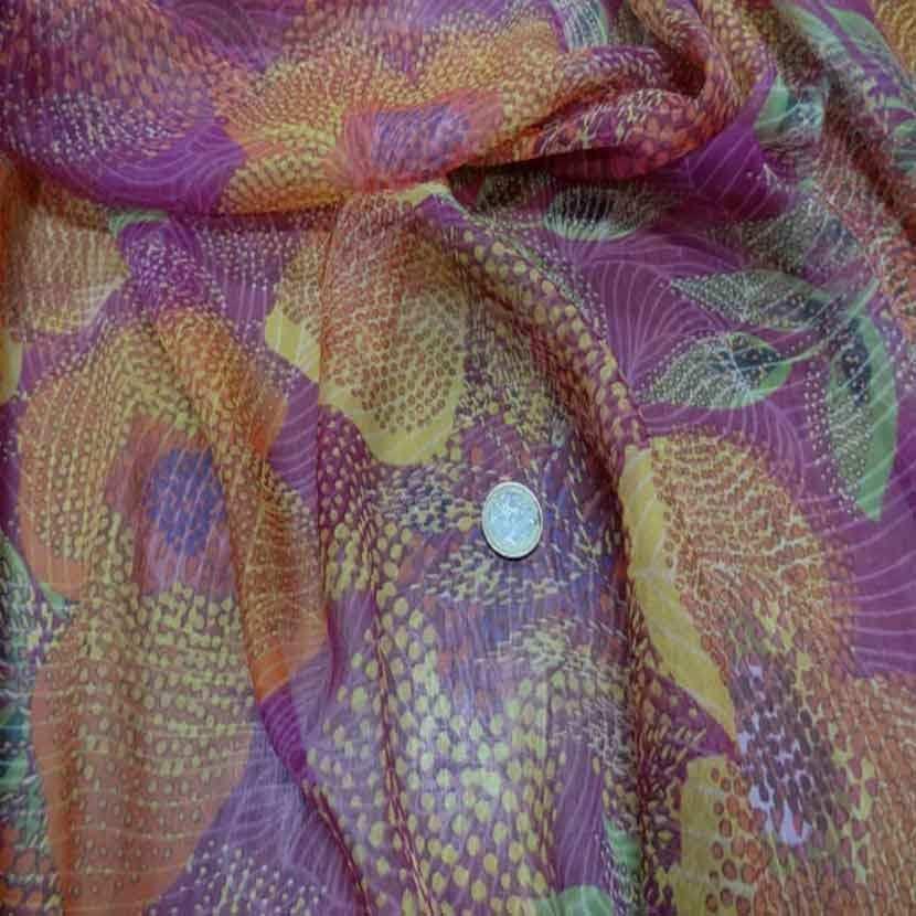 Mousseline de soie 100 imprime ton rose orange9