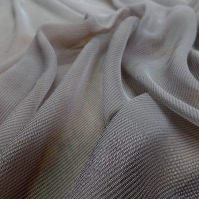 Mousseline de soie a rayures gris rouille