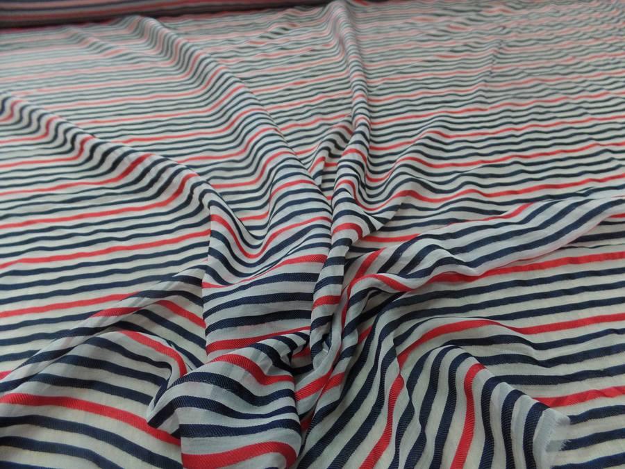 Mousseline de soie blanche devore bandes noire et rouge