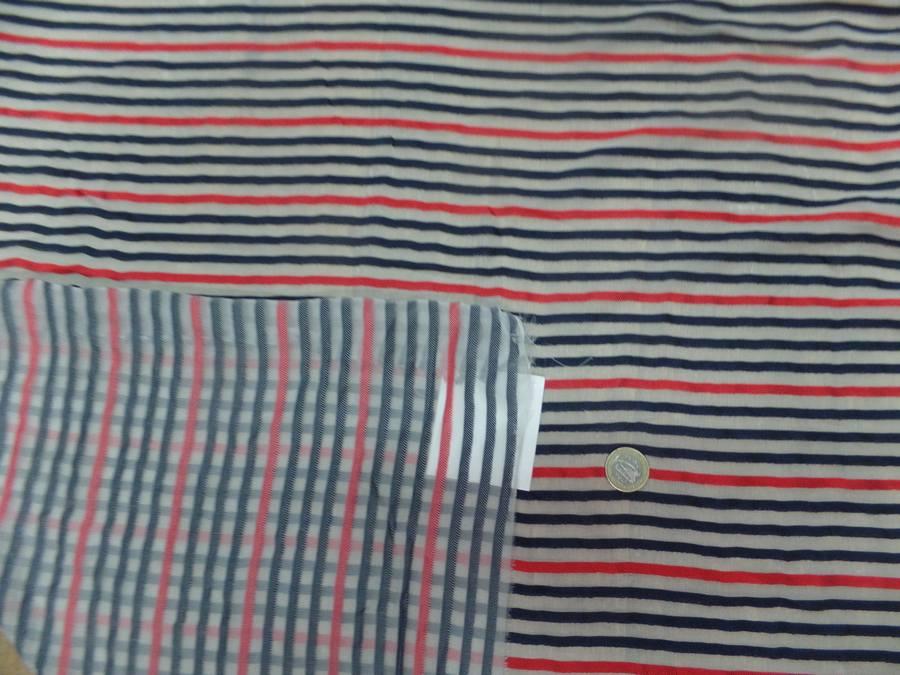 Mousseline de soie blanche devore bandes noire et rouge5
