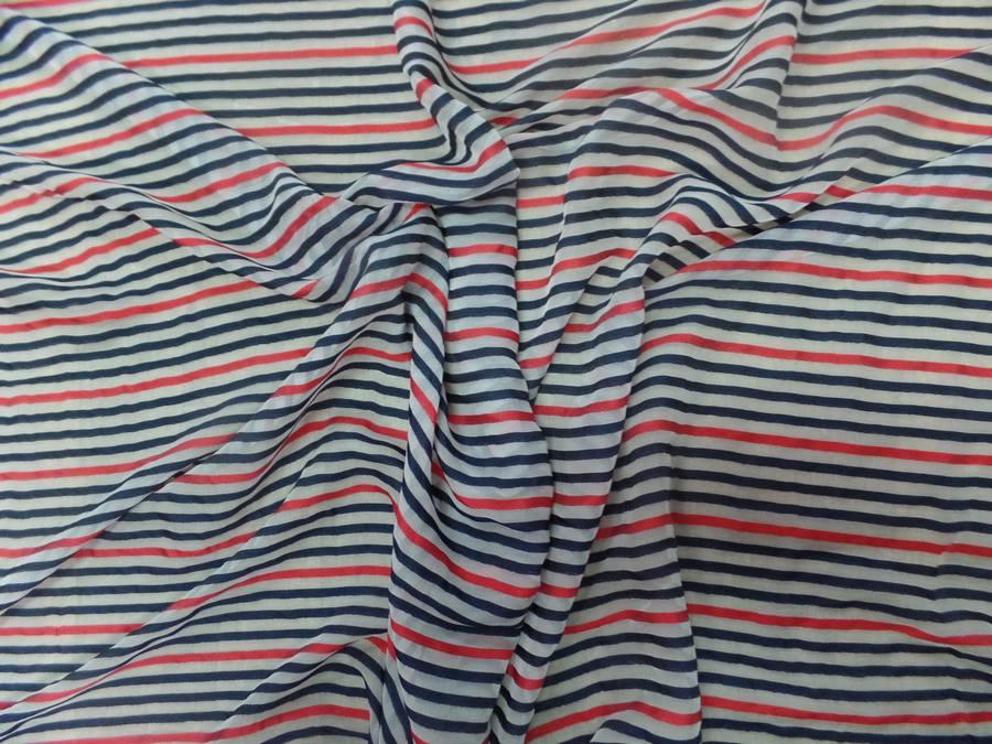 Mousseline de soie blanche devore bandes noire et rouge9