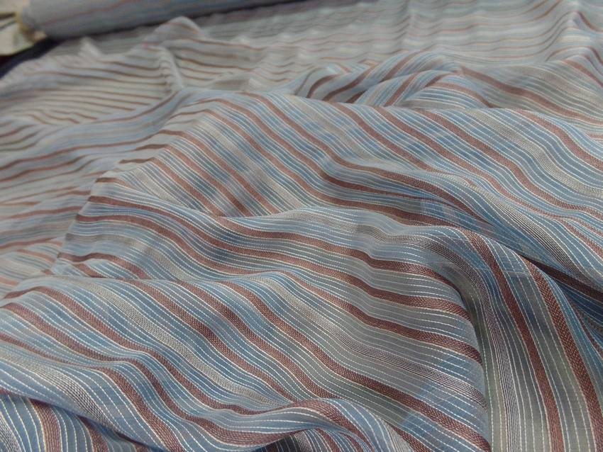 Mousseline de soie bleu a rayures gris marron0