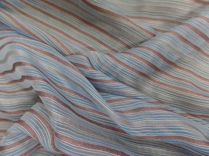 Mousseline de soie bleu a rayures gris marron8
