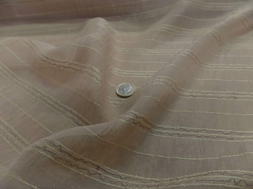 Mousseline de soie brode beige0