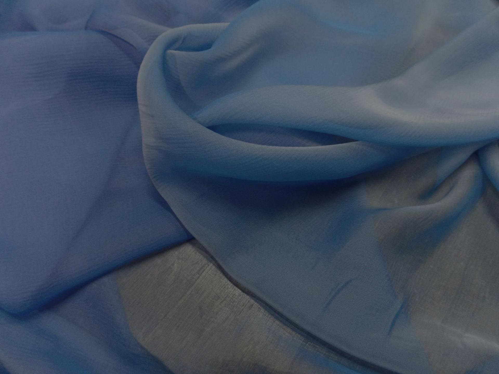 mousseline de soie crépon bleu changeant en 1.20m de large pas cher