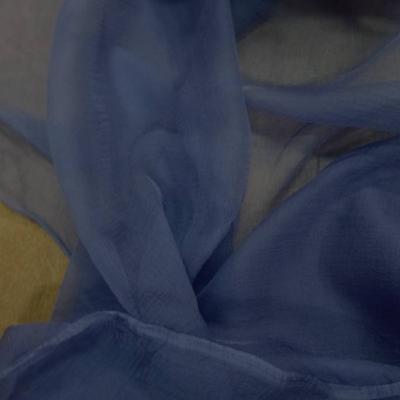 Mousseline de soie crepon bleu indigo