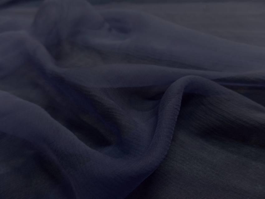 Mousseline de soie crepon bleu indigo5