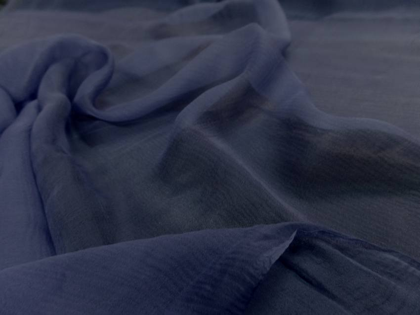 Mousseline de soie crepon bleu indigo9