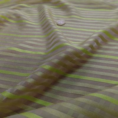 Mousseline de soie ecrue faconne bande tonkaki clair et anis
