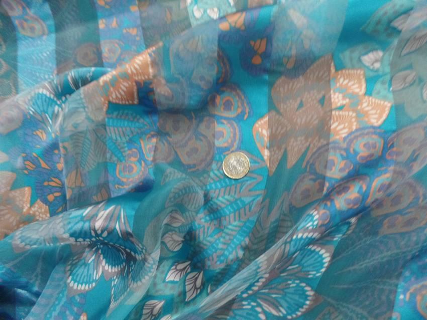 Mousseline de soie faconne bandes ton bleu05