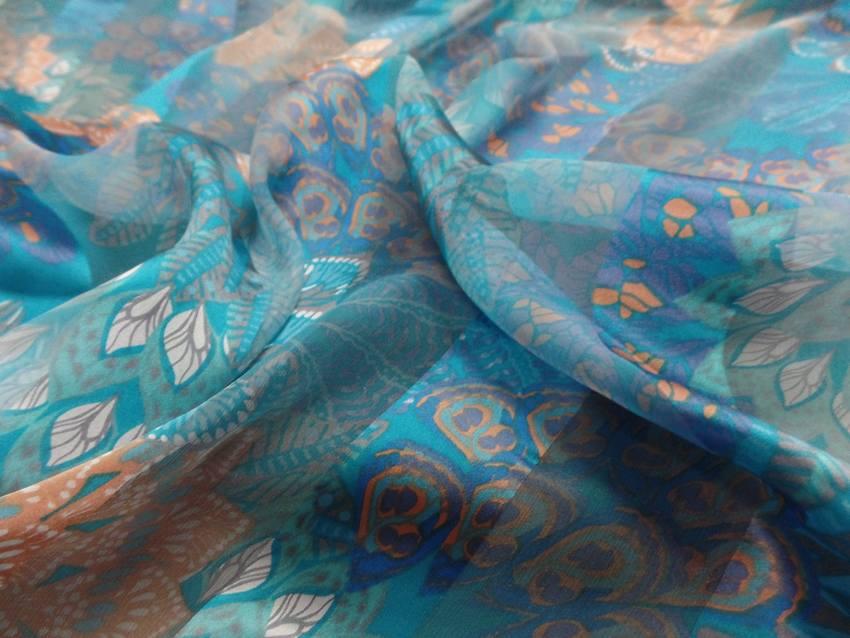 Mousseline de soie faconne bandes ton bleu5