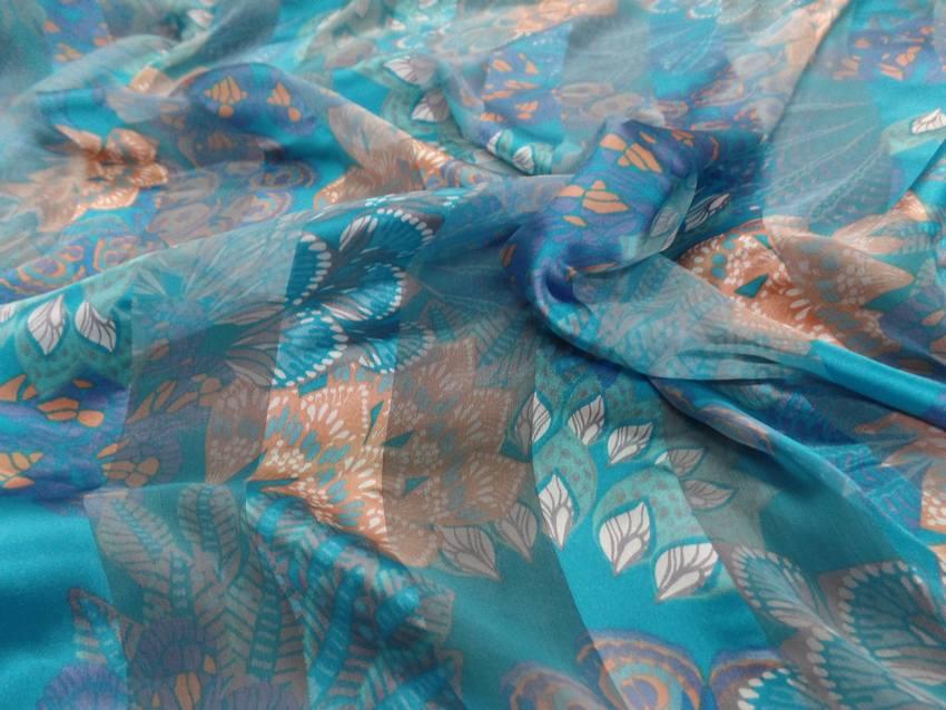 Mousseline de soie faconne bandes ton bleu9