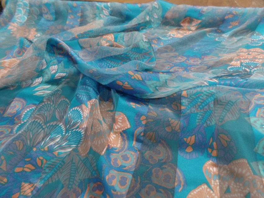 Mousseline de soie faconne bandes ton bleuu4