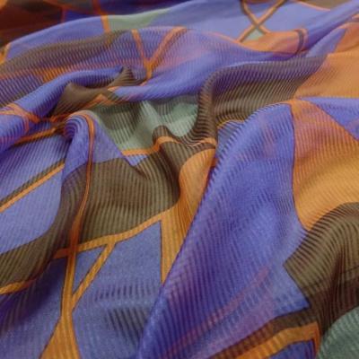 Mousseline de soie faconne rayure ton violet orange et marron