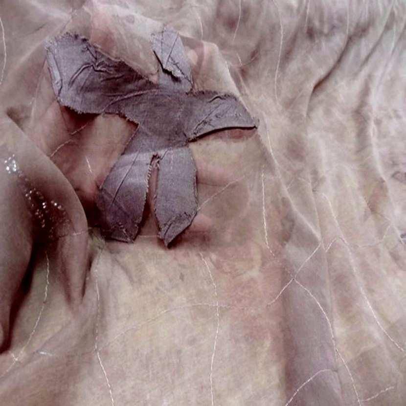 Mousseline de soie faconnee ton marron9