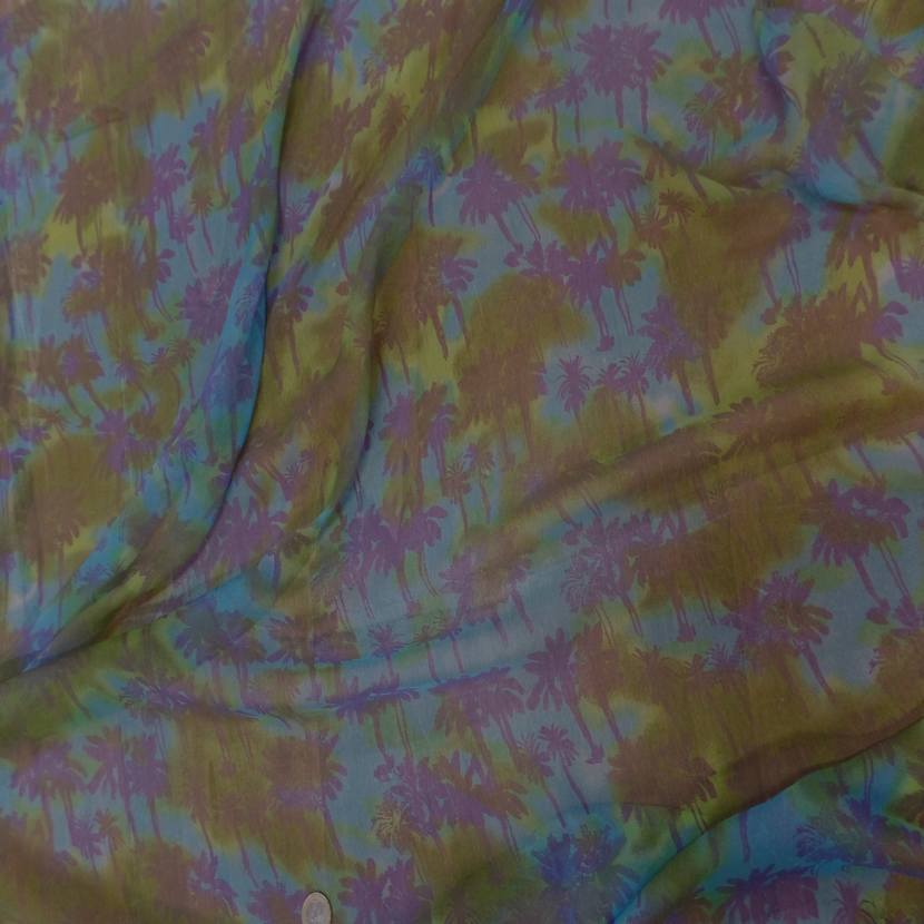 Mousseline de soie imprime kaki bleu