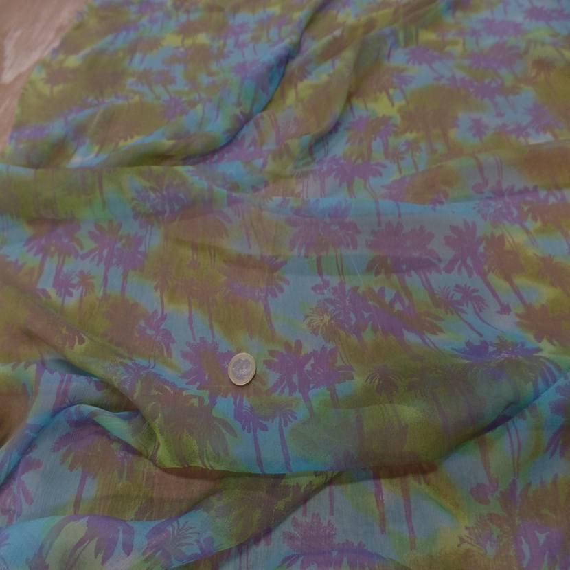 Mousseline de soie imprime kaki bleu3