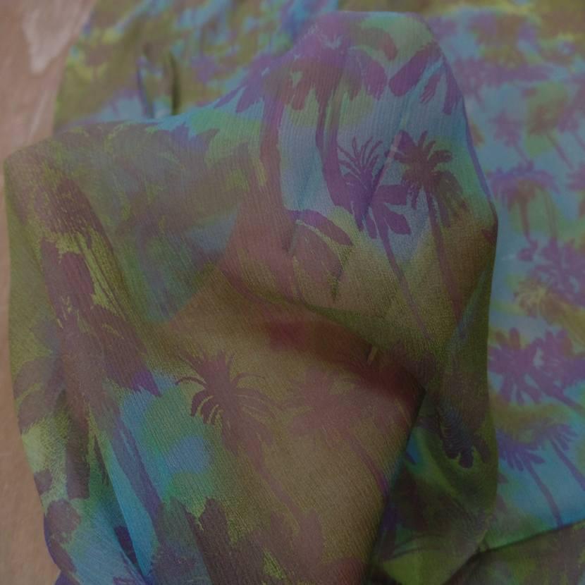 Mousseline de soie imprime kaki bleu5