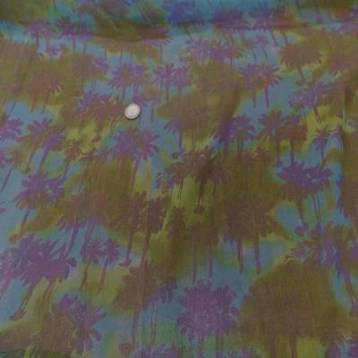 Mousseline de soie imprime kaki bleu8