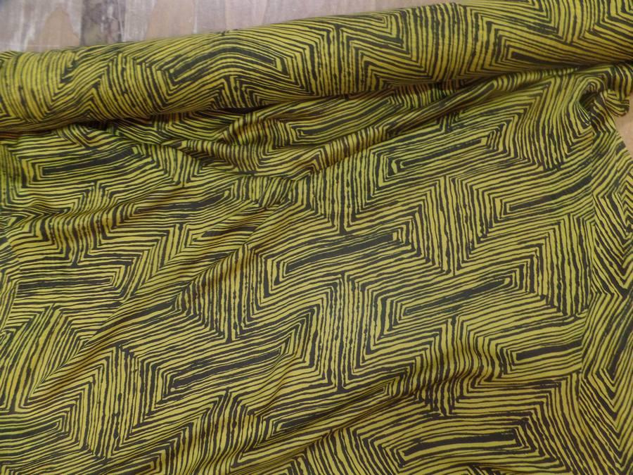 Mousseline de soie imprime marron et jaune