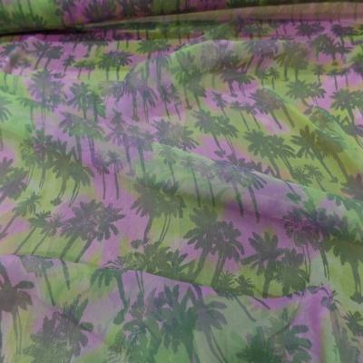 Mousseline de soie imprime palmier