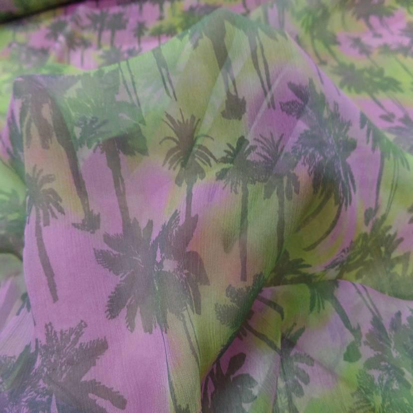 Mousseline de soie imprime palmier1