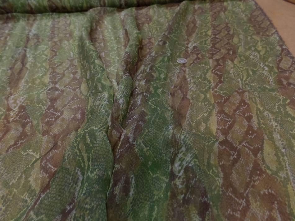 Mousseline de soie imprime serpentton kaki et marron 2