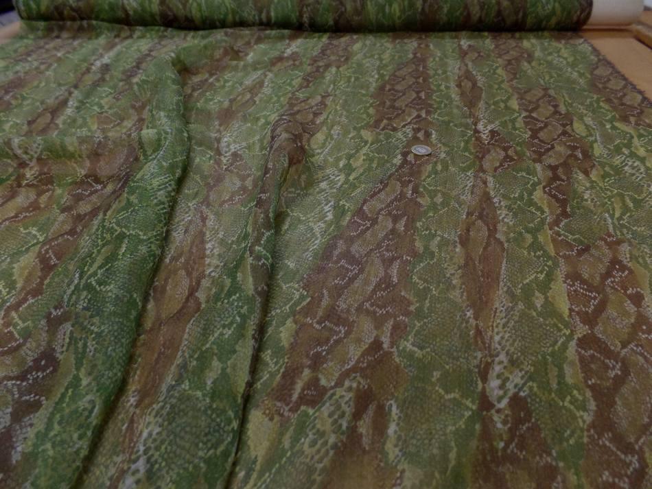 Mousseline de soie imprime serpentton kaki et marron7