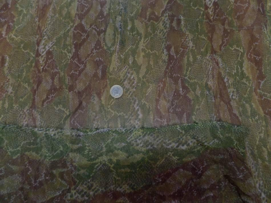 Mousseline de soie imprime serpentton kaki et marron9