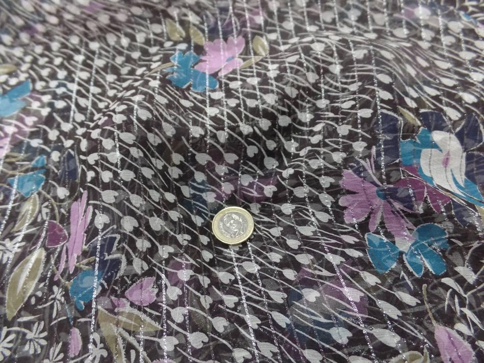 Mousseline de soie noire a bande lurex metal imprime fleurs9