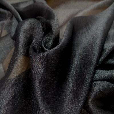 Mousseline de soie noire lurex metal
