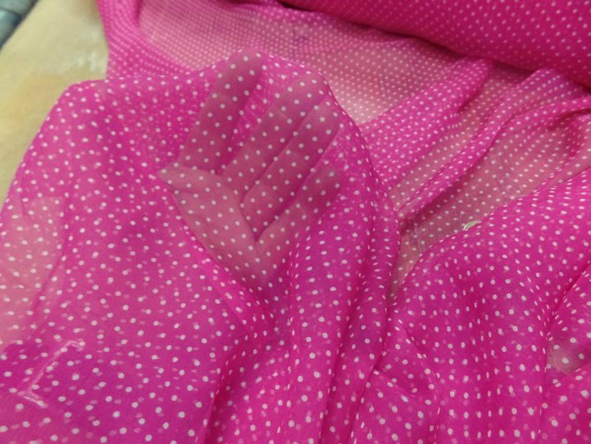 Mousseline de soie rose fuschia a pois blanc