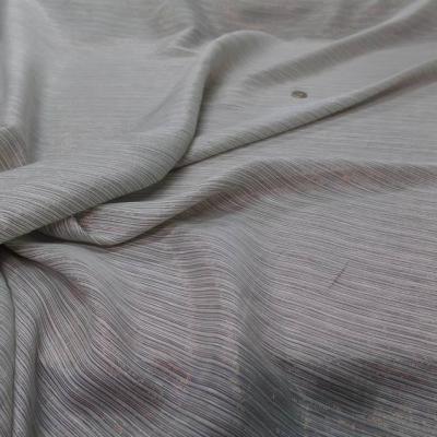Mousseline de soie vert d eau faconne rayures en lurex dore