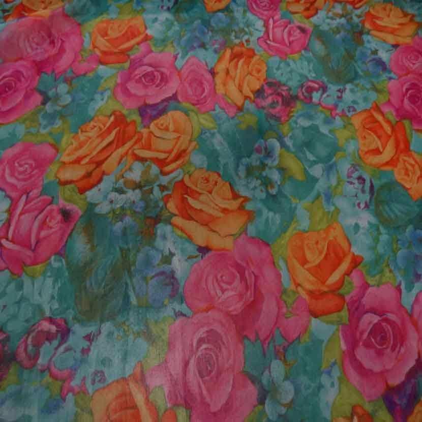 Mousseline font vert imprime rose orange et rose