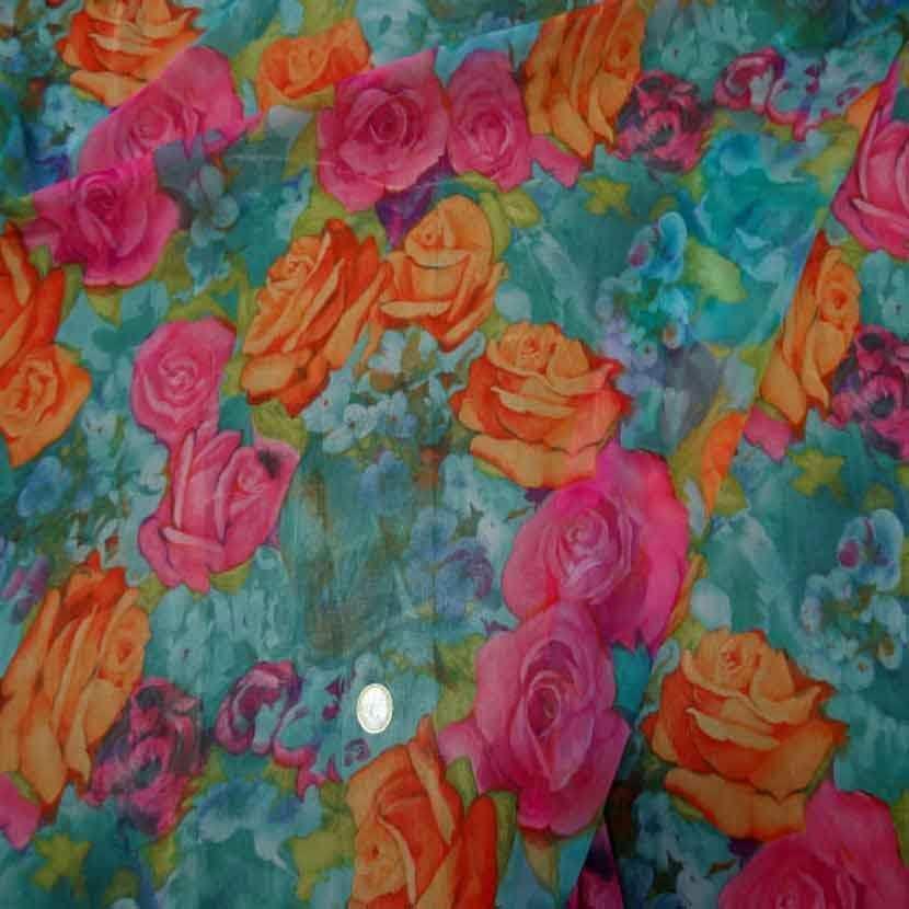 Mousseline font vert imprime rose orange et rose6
