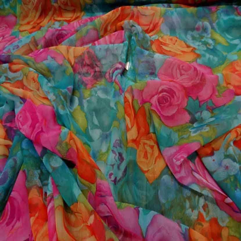 Mousseline font vert imprime rose orange et rose9